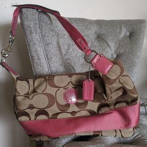 Coach pink accent logo purse